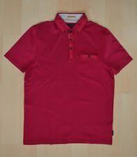 Men's Authentic Ted Baker GRAINYO Fuchsia Grosgrain Trim Polo Shirt Size 4 - L