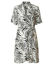 Oliver Bonas Ivory Black Zebra & Leopard Print Button Through Shirt Dress 12 New