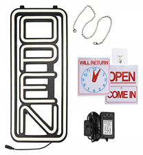 Vertical All White Led Open Sign - Super Bright Open Signs for Business - Neon -