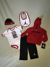 NWT JORDAN SZ 6 9 MONTHS 5 PIECE SET RED BLACK JUMPMAN MSRP $75 NIKE WHITE AIR