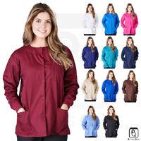 Womens 3-Pocket Snap Front Medical Warm Up Scrub Jacket XS-5XL -G102