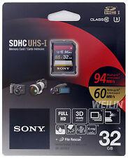 SONY SDHC UHS-I U3 32GB SD Memory Card Class 10 94MB/s FULL 4K ULTRA HD 3D 32G