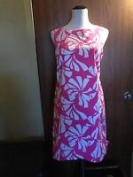 LILLY PULITZER Cotton Blend Pink White Floral Abstract Print Sleeveless Dress