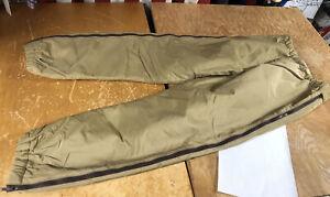 LL Bean Nylon Full Side Zip Insulated Tan Hunt Ski Over Pants youth boy 26-28x28