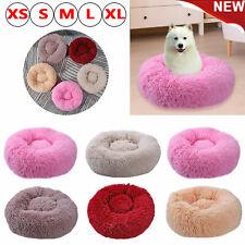 Pet Dog Cat Calming Bed Warm Soft Plush Round Cute Nest Comfortable Sleeping UK