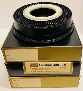 3 Vintage Sears Circular 80 Slide Trays for Continental/Carousel Projectors 9979