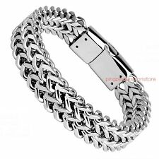"""8.66"""" Silver Stainless Steel Men's Cuban Curb Chain Bracelet Buckle Bangle 11mm"""