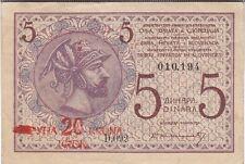 YOUGOSLAVIE : 20 KRONEN SUR 5 DINARS 1919 TTB - P.16