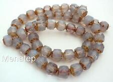 25 6mm Czech Glass Renaissance Style Beads: Milky Amethyst