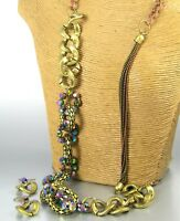 Long Color Crystal Bead Chain Fashion Necklace Earrings Women Jewelry