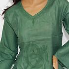 hippie-tunique-chemise-longue chemise, chemisier Goa, om-brodé, vert taille M