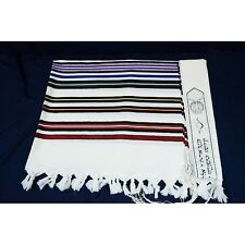 WOOL TALLIT WITH COLORFUL STRIPES - Made in Israel Jewish Prayer Shawl SIZE 60
