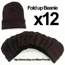 **BROWN** WHOLESALE LOT OF 12 PLAIN BLANK SOLID LONG FOLD UP BEANIE HATS