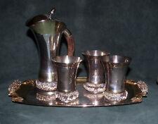 Antique Silver 925 Tray Set Embossed 19 Centur Emil Hermann, Waldstetten