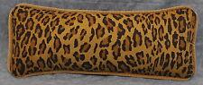 Pillow made w Ralph Lauren Aragon Leopard Fabric Trimmed in Velvet Cord 18x7