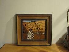 "Vintage Israel Judaica Enamel on Copper Painting Kotel Jerusalem Wall 9"" x 10"""