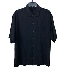 Solid Black Tommy Bahama Button Down Shirt 100% Silk