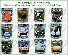 Funny Animals Farm Cute Scenes Mugs Set of 6 Porcelain Cups Hand Decorated UK