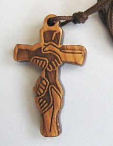 Hands held together Olive Wood Cross on cord
