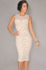Ladies dress lace Floral White Women Towie Evening Cocktail Party Red Size 10 12
