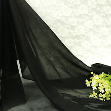 Chiffon Georgette Fabric Pain Sheer Voile Tulle Dress Bridal Material 150cm Wide Black Metre (100*150cm)