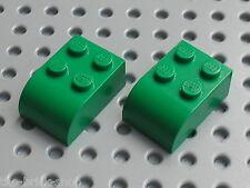 LEGO Green bricks Brick 2 x 3 with Curved Top ref 6215 / Set 9719 6187 7636 4225