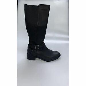 Ladies Womens Knee High Flat Heel Wide Calf Zip Up Riding Biker Boots Shoes Size