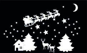 Christmas Santa Sleigh Reindeer Window Scene Sticker