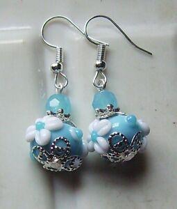 PETITE BABY BLUE FLORAL LAMPWORK GLASS EARRINGS
