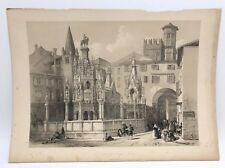 Scaliger Tombs Verona Funerary  1843 G Moore Lithograph Architecture Italy