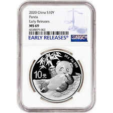 2020 China Silver Panda 30 g 10 Yuan - Ngc Ms69 Early Releases