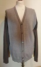 Hackett Micro Jacquard Cotton Cashmere Cardigan Taupe Size XL