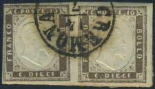 Italy Sardegna 1858 pair of 10 cents USED Sas 14c $2520 190802004