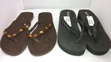 New Thong Sandals Flip Flops Lot of 2 Pair Women's 8M Large Black Brown Jeweled