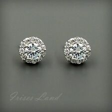 18K White Gold GP Clear Round CZ Cubic Zirconia Wedding Bridal Stud Earrings