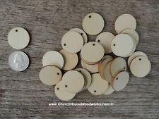 50 count 1 inch wood TAG CIRCLE shapes DIY one inch wooden coins craft round