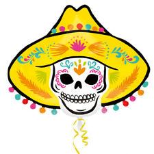 "Sombrero Skull Super Shape Foil Balloon 24"" Day of the Dead Halloween"