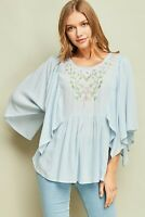 ENTRO Floral Embroidered Flyaway Sleeve Top USA Boutique