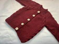New Hand Knitted Aran Cardigan. 1-2 Years. Burgundy Coloured Yarn.