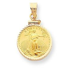 14k Yellow Gold Screw Top Bezel Pendant Only Mounting for 1/4 oz Liberty Coin