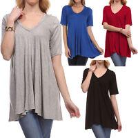 Fashion Women's V-Neck A-Line Tunic Short Sleeve Loose Top Blouse T-Shirt Plus