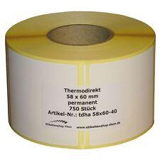 Thermo Etiketten auf Rolle - 58 x 60 mm - 750 Stück - Hülse 40 mm - für BIZERBA