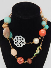❤️ JOAN RIVERS 'SEAHORSE' OCEAN BLUE MOTHER OF PEARL CORAL BEAD SAUTOIR NECKLACE