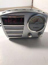 Vintage Timex Alarm Clock Radio Silver Model T247S  Working, Nice.