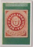 1930s Trade Ad Card - 1862 Argentina 5 Centavo Postage Stamp