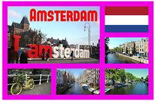 AMSTERDAM, NETHERLANDS - SOUVENIR NOVELTY FRIDGE MAGNET - SIGHTS - GIFT / NEW