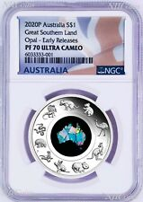 2020 Australia Great Southern Land Opal 1oz Silver Proof Coin NGC PF70 ER HOT