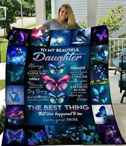 Butterflies Mom To My Beautiful Daughter I Love You Sherpa Blanket
