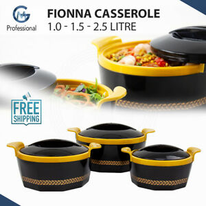 3Pc Hot Pot Food Warmer Thermal Insulated Casserole Serving Dish Set Black