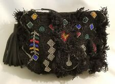 Anthropologie IbBan Black Embroidered Symbols Beaded Zip Pouch Small Bag New